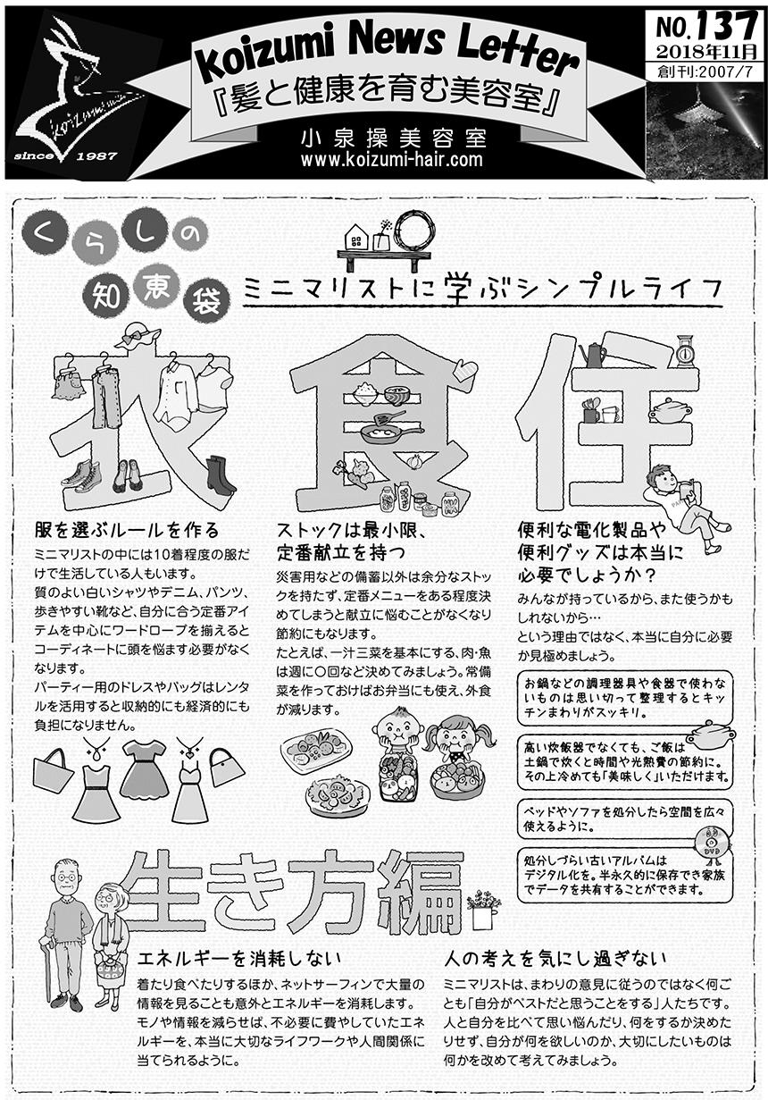 Koizumi News Letter2018年11月号